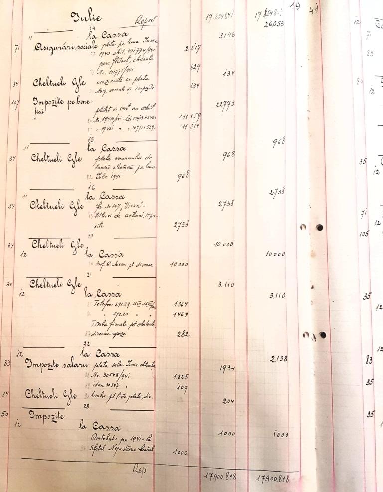 Casa Doina - registrele din timpul razboiului