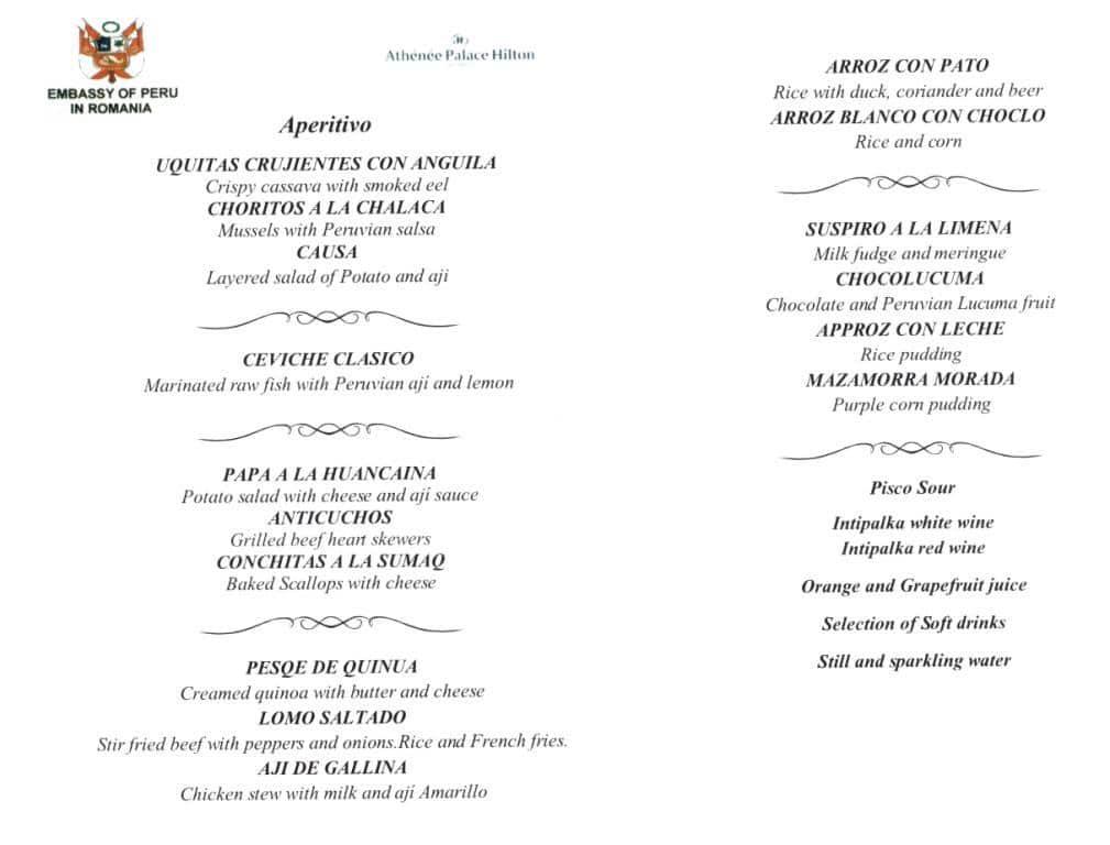 O cina peruviana memorabila