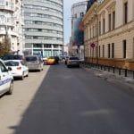 Strada Sevastopol la Piata Victoriei, cu restaurantul grecesc KOS