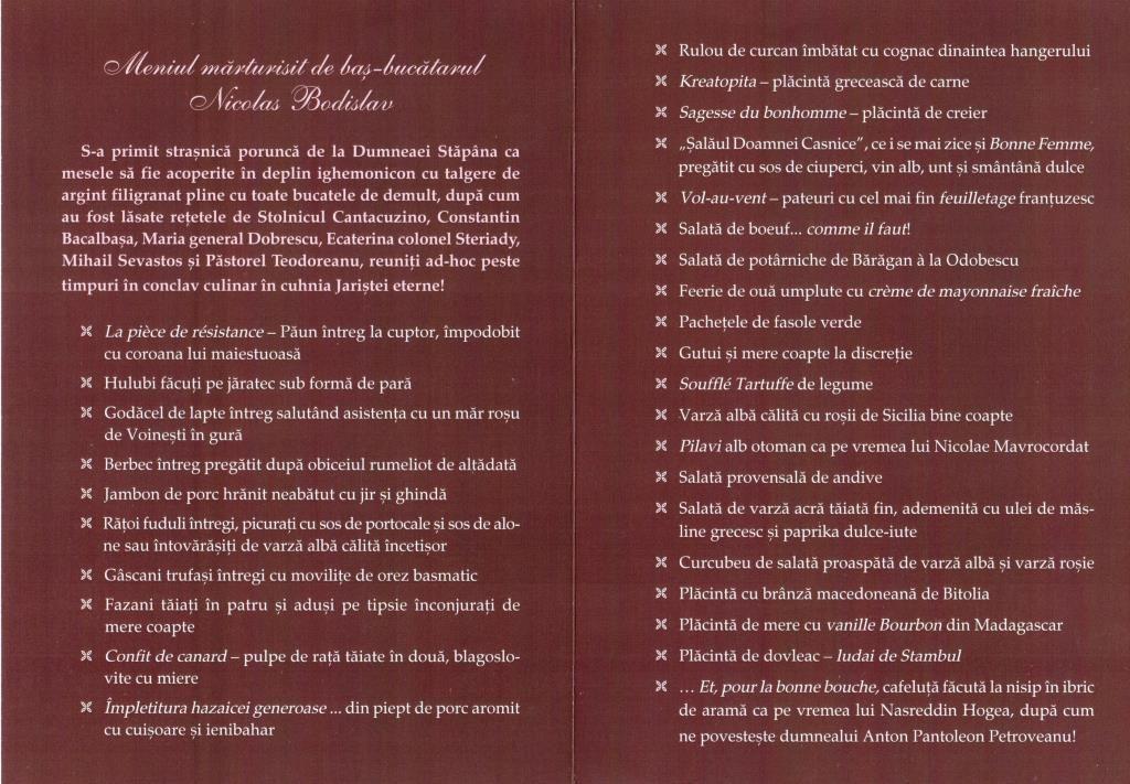 Festin romanesc boieresc la Locanta Jaristea
